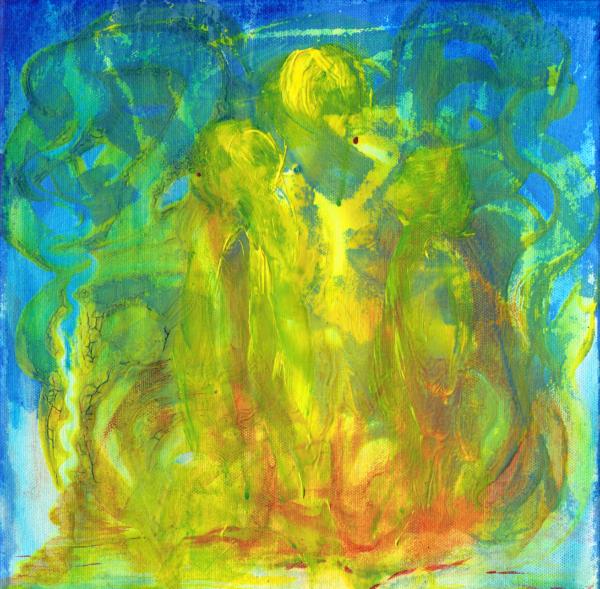 Schutzengel Dezember 2019, Acrylfarbe auf Leinwand/Keilrahmen, 30x30cm