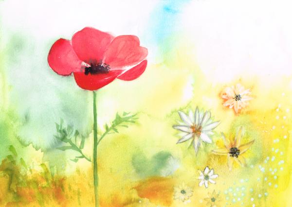 Die Königin der Blumenwiese Juni 2020, Aquarell auf Papier, 40x30cm