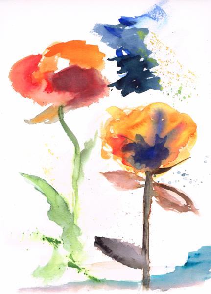 Sommerblumen Juni 2020, Aquarellfarbe auf Papier, 30x40cm